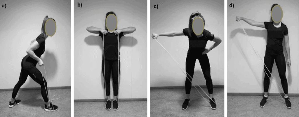 Instruktion av övningar med gummiband